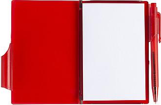STING Zápisník s kuličkovým perem (černá náplň), červený - reklamní bloky