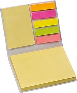 Sada lepících barevných lístků v knížce