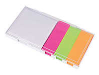 Memo box, s barevnými lepkami, krabička bílá, transparentní