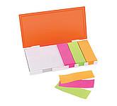 Memo box, s barevnými lepkami, krabička bílá, oranžová