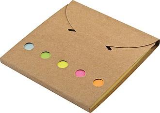 Sada barevných lepících lístků v recyklovaném pouzdře
