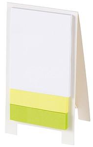 Sada lepících lístků na bílém stojánku
