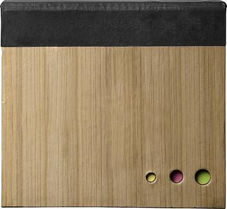 Sada značkovacích a poznámkových lístků v bambusové krabičce, černá