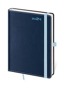Double Blue 2020 diář denní A5, modrý s modrou gumičkou