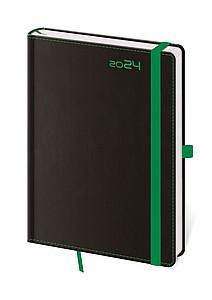 Black Green 2020 diář denní A5, černý se zelenou gumičkou