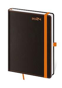 Black Orange 2020 diář denní A5, černý s oranžovou gumičkou