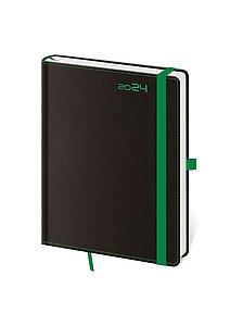 Black Green 2020 diář týdenní B6, černý se zelenou gumičkou