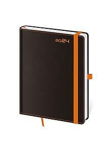 Black Orange 2020 diář týdenní B6, černý s oranžovou gumičkou
