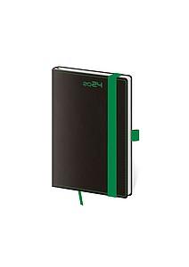 Black Green 2020 diář kapesní, černý se zelenou gumičkou