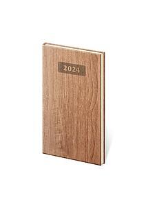 Wood 2021 diář kapesní, světle hnědý
