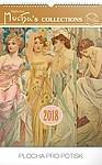 Alfons Mucha 2018, nástěnný kalendář 33x46cm, prodloužená záda