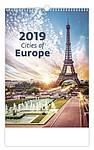Cities of Europe 2019, nástěnný kalendář, prodloužená záda