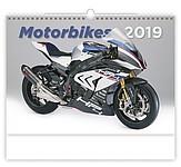 Motorbikes 2019, nástěnný kalendář, prodloužená záda