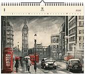 London 2020, dřevěný nástěnný kalendář