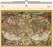 Antique Maps 2020, dřevěný nástěnný kalendář