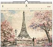 Eiffel Tower 2020, dřevěný nástěnný kalendář