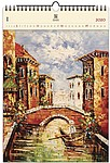 Venezia III 2020, dřevěný nástěnný kalendář