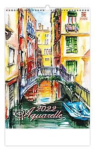 Aquarelle 2020, nástěnný kalendář, prodloužená záda