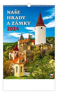 Naše hrady a zámky 2021, nástěnný kalendář, prodloužená záda