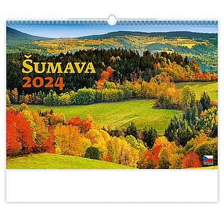 Šumava 2021, nástěnný kalendář, prodloužená záda