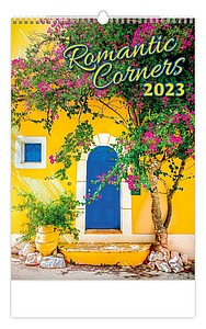 Romantic Corners 2021, nástěnný kalendář, prodloužená záda
