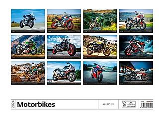 Motorbikes 2021, nástěnný kalendář, prodloužená záda