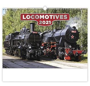 Locomotives 2021, nástěnný kalendář, prodloužená záda