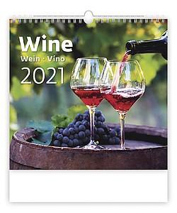 Wine 2021, nástěnný kalendář, prodloužená záda