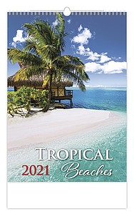 Tropical Beaches 2021 nástěnný kalendář, prodloužená záda
