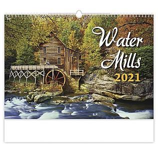 Water Mills 2021 nástěnný kalendář, prodloužená záda