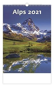 Alpy 2021, nástěnný kalendář, prodloužená záda