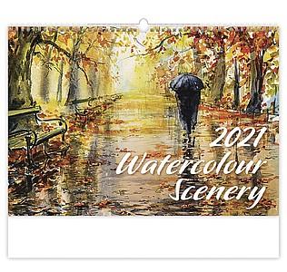 Watercolour Scenery 2021, nástěnný kalendář, prodloužená záda