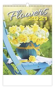 Flowers 2021, nástěnný kalendář, prodloužená záda