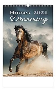 Horses Dreaming 2021, nástěnný kalendář, prodloužená záda