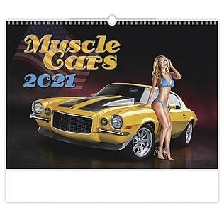 Muscle Cars 2021, nástěnný kalendář, prodloužená záda