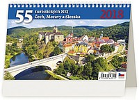 55 turistických nej Čech, Moravy a Slezska 2018, stolní kalendář