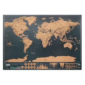 Stírací mapa světa, 42x30cm