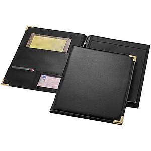 Černé desky A4 s 20 stránkovým blokem a poutkem na pero