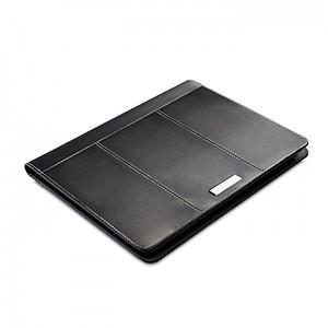 CORDOBEL Kožené konferenční desky s bílým prošíváním a blokem, černá