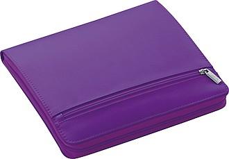 Sloha A5 na zip s blokem a místem pro tablet, fialová