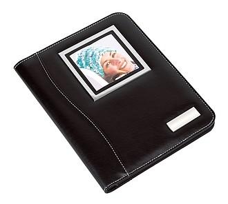 Konferenční desky A4 s kalkulačkou a rámem na foto, černé