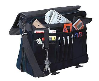 taška na dokumenty, mikrovlákno, modro, černá