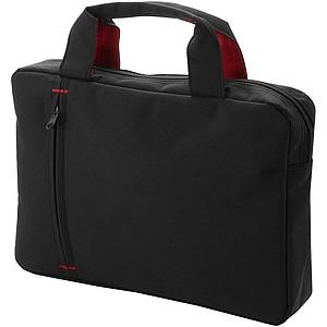 Aktovka s přední kapsou na zip, černá, červené detaily