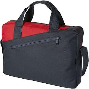 Polyesterová aktovka s přední kapsou, černá, červená