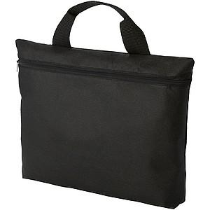 Netkaná taška na dokumenty se zipem, černá