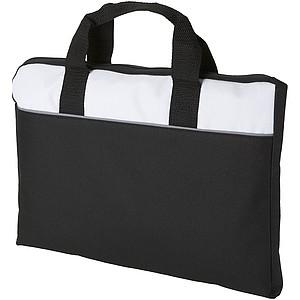 Polyesterová taška na dokumenty, černá, bílá