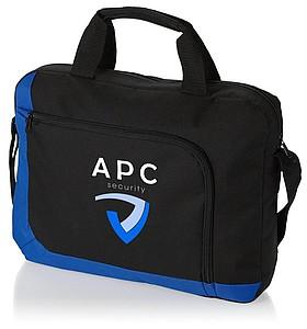 Konferenční taška s přední taškou na zip, černá, modrá