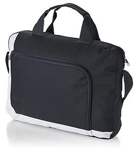 Konferenční taška s přední taškou na zip, černá, bílá