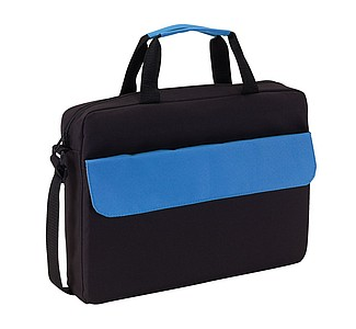 BALROG Černá taška na dokumenty s modrou klopou na přední kapse