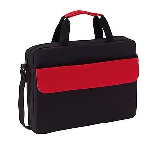 BALROG Černá taška na dokumenty s červenou klopou na přední kapse